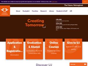 University of Johannesburg's Website Screenshot