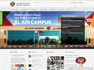 Abu Dhabi University's Website Screenshot