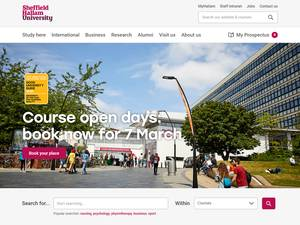 Sheffield Hallam University's Website Screenshot