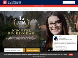 The University of Buckingham's Website Screenshot