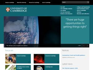 University of Cambridge's Website Screenshot