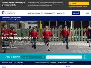 University of Liverpool's Website Screenshot