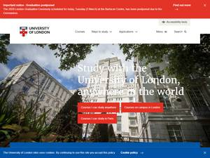 University of London's Website Screenshot