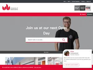 University of Bedfordshire's Website Screenshot