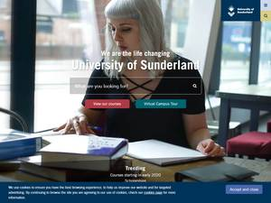 University of Sunderland's Website Screenshot