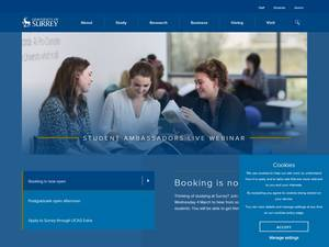 University of Surrey's Website Screenshot