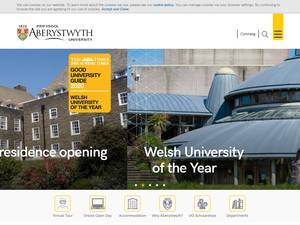 Aberystwyth University's Website Screenshot