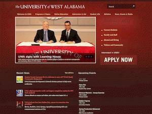 The University of West Alabama's Website Screenshot