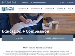 Samuel Merritt University's Website Screenshot