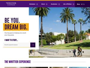 Whittier College's Website Screenshot