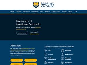 University of Northern Colorado's Website Screenshot