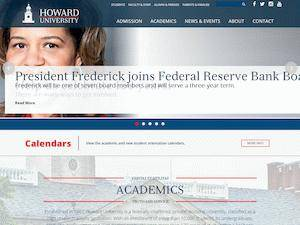 Howard University's Website Screenshot