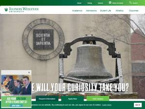 Illinois Wesleyan University's Website Screenshot