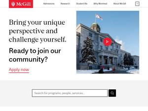 McGill University's Website Screenshot