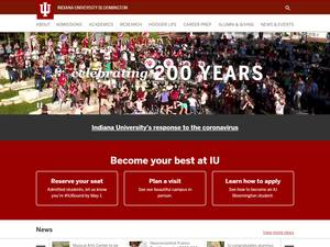 Indiana University Bloomington's Website Screenshot