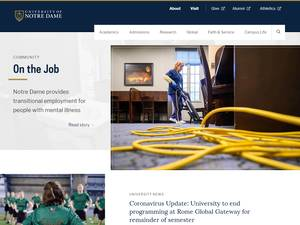 University of Notre Dame's Website Screenshot