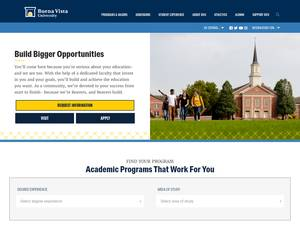 Buena Vista University's Website Screenshot