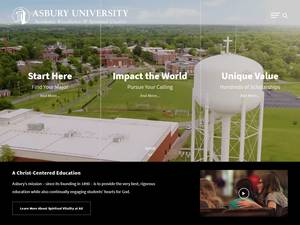 Asbury University's Website Screenshot