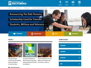 University of Baltimore's Website Screenshot