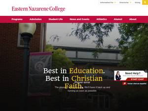Eastern Nazarene College's Website Screenshot
