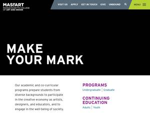 Massachusetts College of Art and Design's Website Screenshot