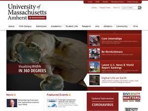 University of Massachusetts Amherst's Website Screenshot