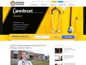 Adrian College's Website Screenshot