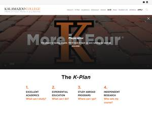 Kalamazoo College's Website Screenshot