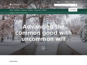 Michigan State University's Website Screenshot