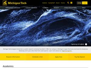 Michigan Technological University's Website Screenshot