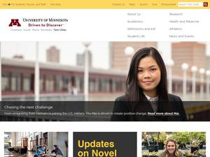 University of Minnesota's Website Screenshot
