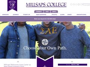 Millsaps College's Website Screenshot