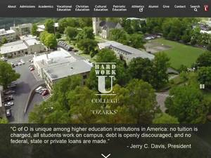 College of the Ozarks's Website Screenshot