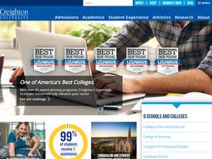 Creighton University's Website Screenshot