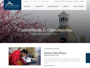Centenary University's Website Screenshot