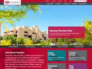 University of New Mexico's Website Screenshot