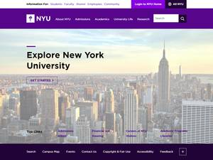 New York University's Website Screenshot