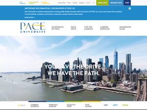 Pace University's Website Screenshot