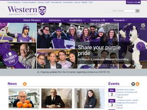 Western University's Website Screenshot