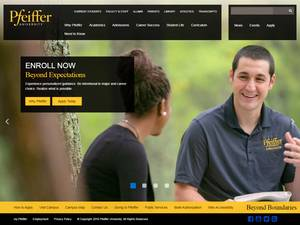 Pfeiffer University's Website Screenshot