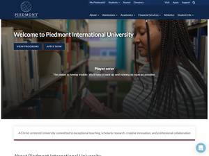 Piedmont International University's Website Screenshot
