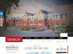 Denison University's Website Screenshot