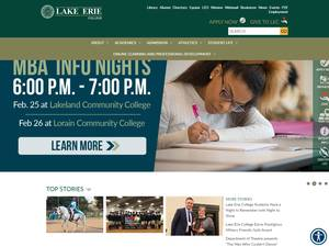 Lake Erie College's Website Screenshot