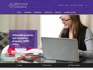 Defiance College's Website Screenshot