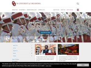 The University of Oklahoma's Website Screenshot