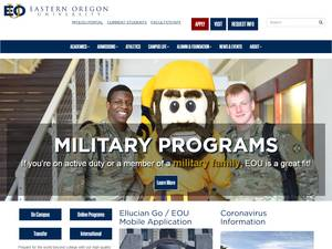 Eastern Oregon University's Website Screenshot