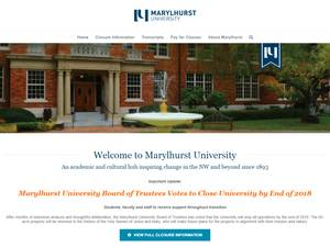 Marylhurst University's Website Screenshot