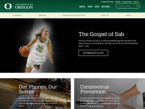 University of Oregon's Website Screenshot