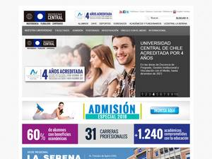 Universidad Central de Chile's Website Screenshot