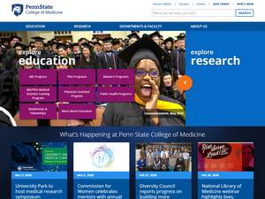 Penn State College of Medicine's Website Screenshot